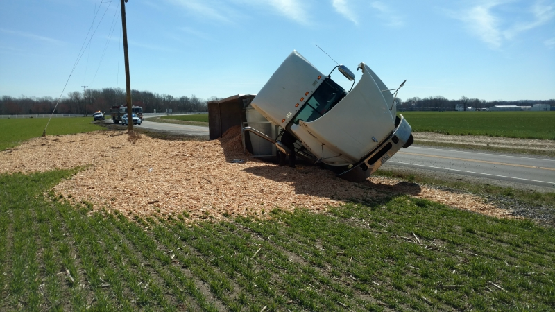 Tractor Trailer Overturned